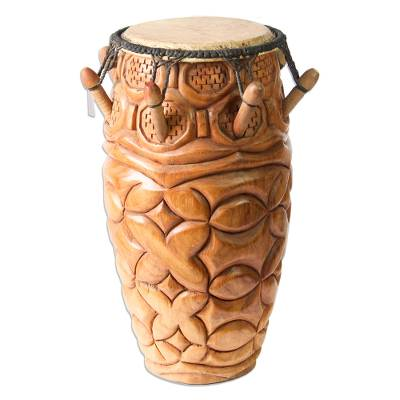 Wood kpanlogo drum, 'Unity' - Wood kpanlogo drum