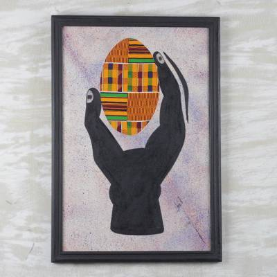 African Kente Cloth Wall Collage Hand And Egg I Novica