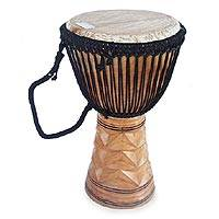 Wood djembe drum, 'Kete Dancers' - Wood djembe drum