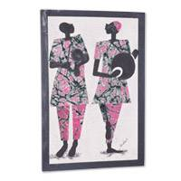 Cotton batik wall art, 'Kundun Festival' - African Cotton Batik Wall Art