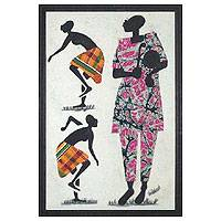 Fabric collage wall art, 'Apatampa Dancers I' - African Fabric Collage Wall Art