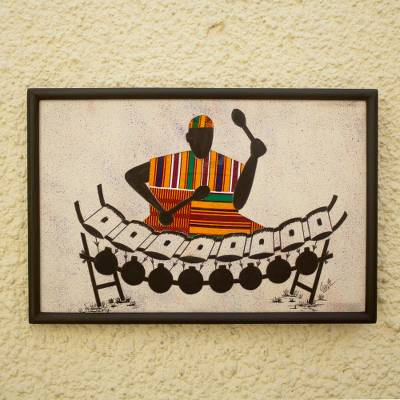 Kente cloth wall art, 'Xylo Player'