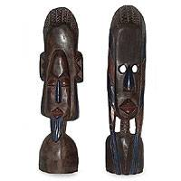 Ghanaian wood masks, 'Traditions' (pair) - African wood masks (Pair)
