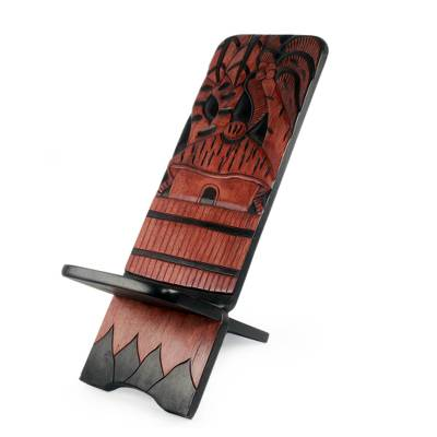 Decorative wood accent, 'Ekurasi' - Hand Carved Decorative Wood Home Accent