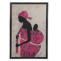 Cotton batik wall art, 'Obatanpa' Good Mother - Hand Crafted Batik Cotton Folk Art Painting