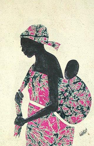 Cotton batik wall art, 'Obatanpa' Good Mother - Hand Crafted Batik Cotton Folk Art Painting