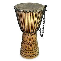 Wood djembe drum, 'Xorlali' - Wood djembe drum