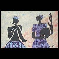 Cotton batik wall art, 'Horn and String Players I' - African Batik Collage in Wood Frame