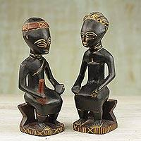 Cedar sculptures, 'Kumasi Royal Couple' (pair) - Cedar sculptures (Pair)