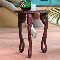 Wood accent table, 'Elephants'