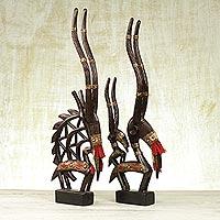 Wood sculptures, 'Good Fortune' (pair)