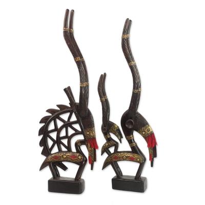 Hand Made Cultural Wood Sculpture (Pair)