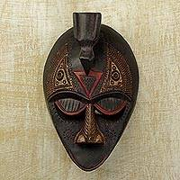 Ewe wood mask, 'Karma Bird' - Ewe wood mask