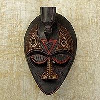 Ewe wood mask, 'Karma Bird' - Ewe wood mask