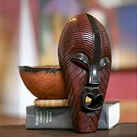 Congolese wood African mask, 'Congo Medicine Man' - Unique Congo Zaire Wood Mask