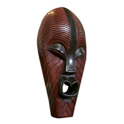 Congolese wood African mask, 'Congo Medicine Man' - Unique Congo Zaire Wood Mask