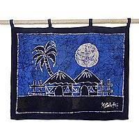 Batik wall hanging, 'Aklowa by Night'