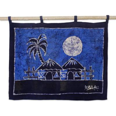 Batik wall hanging, 'Aklowa by Night' - African Cotton Batik Wall Hanging