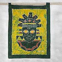 Batik wall hanging, 'Festac Mask' - Batik wall hanging