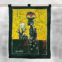Batik wall hanging, 'Palm Wine Seller' - Batik wall hanging