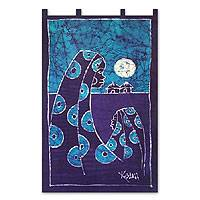 Batik wall hanging, 'Sweet Mama'