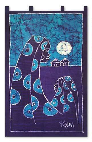 Batik wall hanging, 'Sweet Mama' - Batik Cotton Wall Hanging