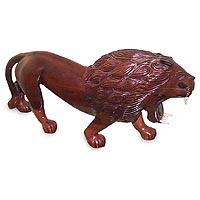 Ebony statuette, 'Raging Sahelian Lion' - Ebony statuette