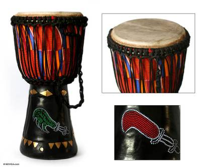 Wood djembe drum, 'Sword of Justice' - African Wood Djembe Drum