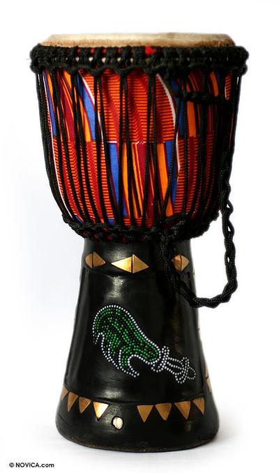 Wood djembe drum, 'Sword of Justice' - African Wood Djembe Drum