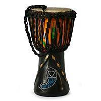 Wood djembe drum, 'Prosperous Horns' - Hand Made Wood Djembe Drum