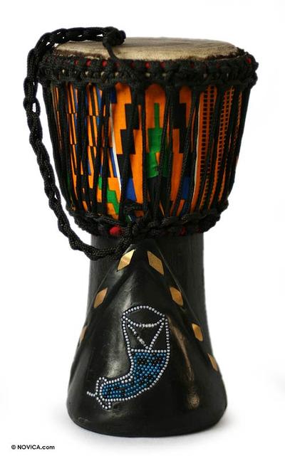 Wood djembe drum, 'Prosperous Horns' - Hand Made Wood Djembe Drum