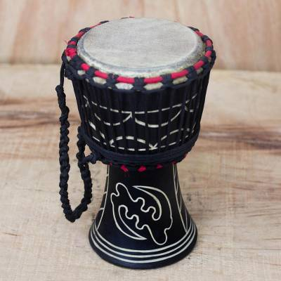 Wood djembe drum, 'Fear None but God' (black) - Handmade Wood Drum
