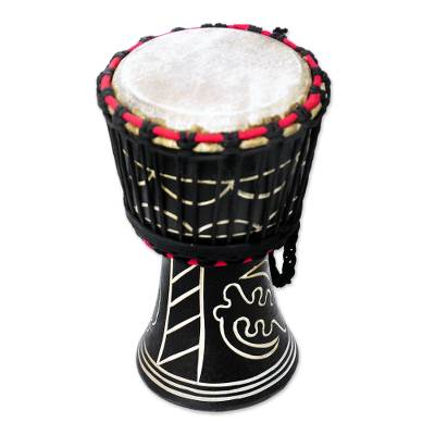 Wood djembe drum, 'Fear None but God' (black) - Handmade Wood Drum