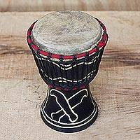 Wood mini-djembe drum, 'Gallant Authority' - Wood Mini Djembe Drum