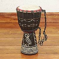 Wood mini-djembe drum, 'Revival' - Wood mini-djembe drum