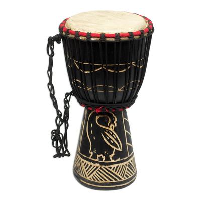 Wood mini-djembe drum, 'Revival' - Wood mini-djembe drum