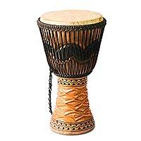 Wood djembe drum, 'Making Music' - Wood djembe drum