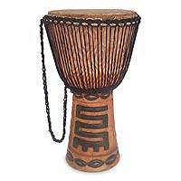 Wood djembe drum, 'African Rhythm' - Wood djembe drum
