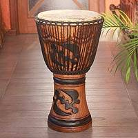 Wood djembe drum, 'God is Supreme'