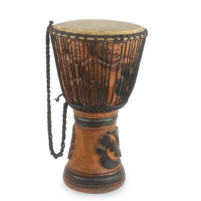 Wood djembe drum, 'God is Supreme' - Wood djembe drum