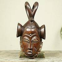 Ivoirian wood mask, 'Scorpion Vigil' - Ivoirian wood mask