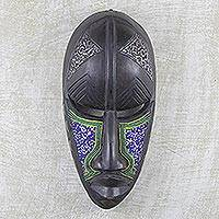 Akan wood mask, 'King Enthroned' - Akan wood mask
