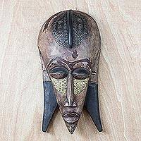Ashanti wood mask, 'Queen Mother' - Ashanti Wood Mask