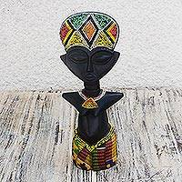 Wood sculpture, 'Monday's Girl' - African Wood Sculpture