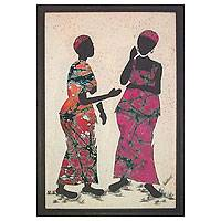 Cotton batik wall art, 'Gossip' - African Folk Art Painting