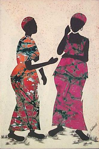 Cotton batik wall art, 'Gossip' - African Folk Art Painting
