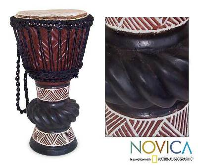 Wood djembe drum, 'Ceremonial Celebrations' - Handcrafted Wood Djembe Drum