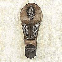 Hausa wood African mask,
