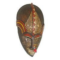 Akan wood mask, 'Tribal Man' - Akan Wood Mask