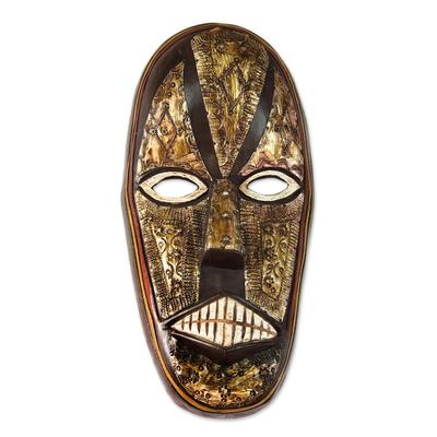 Akan wood mask, 'Peace from Ghana' - Hand Carved Akan Tribe Wood Mask